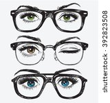 set of hand drawn women's eyes... | Shutterstock .eps vector #392823508