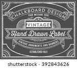 vintage chalkboard background   ... | Shutterstock .eps vector #392843626