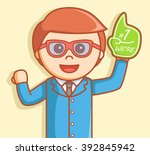 business man with number one... | Shutterstock . vector #392845942