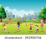 children playing sports in the... | Shutterstock .eps vector #392900746