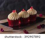 red velvet cupcakes with cream... | Shutterstock . vector #392907892
