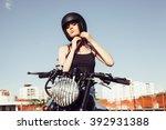 Biker Girl Sits On Vintage...