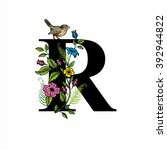 letter r with flowers and bird  ... | Shutterstock .eps vector #392944822