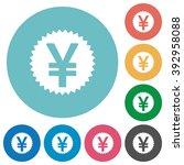 flat yen sticker icon set on...