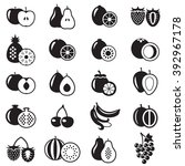 set of fruits monochrome icons... | Shutterstock .eps vector #392967178