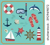 vector set of nautical and... | Shutterstock .eps vector #392969872