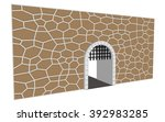 isolated medieval open gate...   Shutterstock . vector #392983285