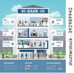 bank building and finance... | Shutterstock .eps vector #392989942