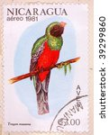 Small photo of NICARAGUA - CIRCA 1981: A stamp printed in Colombia shows image of a Slaty-tailed Trogon (Trogon massena), series, circa 1981