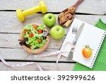fresh salad  fruits with sport... | Shutterstock . vector #392999626