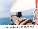 wooden bowsprit and mast with a ... | Shutterstock . vector #393002656