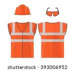 orange high visibility vest... | Shutterstock .eps vector #393006952