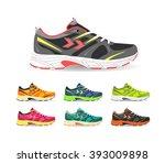 set of sport shoes. sneaker.... | Shutterstock .eps vector #393009898