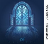 mosque door with arabic pattern ... | Shutterstock .eps vector #393015232