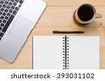 blank opened notebook with cup... | Shutterstock . vector #393031102