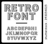 retro alphabet font vector | Shutterstock .eps vector #393054025