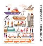 modern city vector illustration ... | Shutterstock .eps vector #393068686