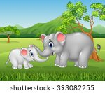 cartoon elephant mother and... | Shutterstock .eps vector #393082255
