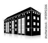 silhouette office building with ... | Shutterstock .eps vector #393092266