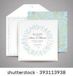 set of wedding cards. floral... | Shutterstock .eps vector #393113938
