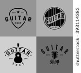 retro styled guitar shop logos | Shutterstock .eps vector #393114382