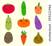 set of cute  kawaii  vegetables ... | Shutterstock .eps vector #393121966