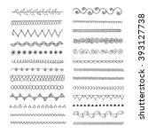 set of hand drawn line  borders.... | Shutterstock .eps vector #393127738