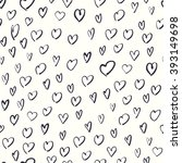seamless hand drawn hearts... | Shutterstock . vector #393149698