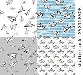set of four cute seamless... | Shutterstock .eps vector #393158908