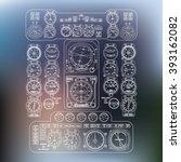 flight instrument panel in the... | Shutterstock .eps vector #393162082