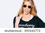 lovely young blond woman making ... | Shutterstock . vector #393165772