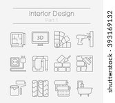 vector set of modern flat line... | Shutterstock .eps vector #393169132