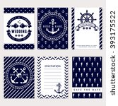 nautical wedding invitation... | Shutterstock .eps vector #393175522