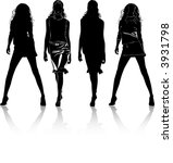 black silhouettes of  beautiful ... | Shutterstock .eps vector #3931798