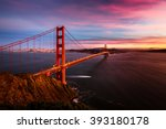 colorful sunset at the golden... | Shutterstock . vector #393180178