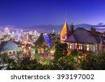 Kobe, Japan skyline from the historic Kitano District. - stock photo