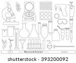 science icon set in trendy line ... | Shutterstock .eps vector #393200092
