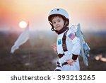 adorable little boy  dressed as ... | Shutterstock . vector #393213265