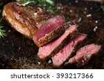 new york strip top loin steak... | Shutterstock . vector #393217366