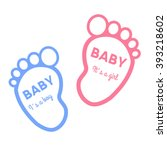 baby shower card with baby foot ... | Shutterstock .eps vector #393218602