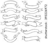 vector set of line art ribbons | Shutterstock .eps vector #393226972