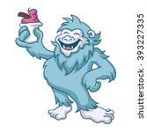 Stock vector cartoon yeti eating ice cream 393227335