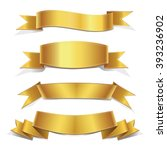 gold  ribbons set   banners  | Shutterstock .eps vector #393236902