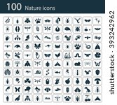 set of one hundred nature icons  | Shutterstock .eps vector #393242962