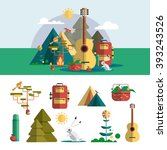 camping outdoor design elements ... | Shutterstock . vector #393243526