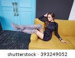 beautiful stylish girl wear...   Shutterstock . vector #393249052