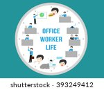 office worker life   routine  ... | Shutterstock .eps vector #393249412