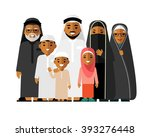 happy muslim arabic family... | Shutterstock .eps vector #393276448