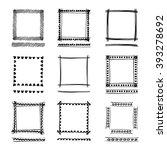 set of black grunge ink frames. ... | Shutterstock . vector #393278692
