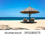 beautiful tropical beach  straw ... | Shutterstock . vector #393280075